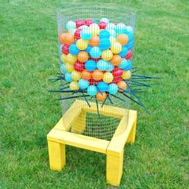Take backyard games to a whole new level with a large-scale homemade version of the classic Ker-Plunk game!
