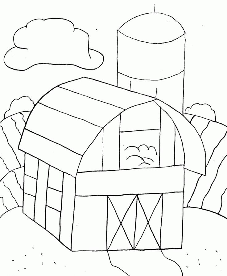 Buildings Farm Coloring Page