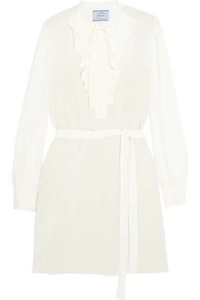 Prada - Pussy-bow Ruffled Silk Crepe De Chine Mini Dress - Ivory - IT38
