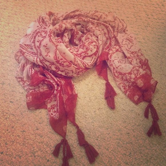 Cotton On Red Scarf with Tassles Very cute scarf! Only worn once! Cotton On Accessories Scarves & Wraps
