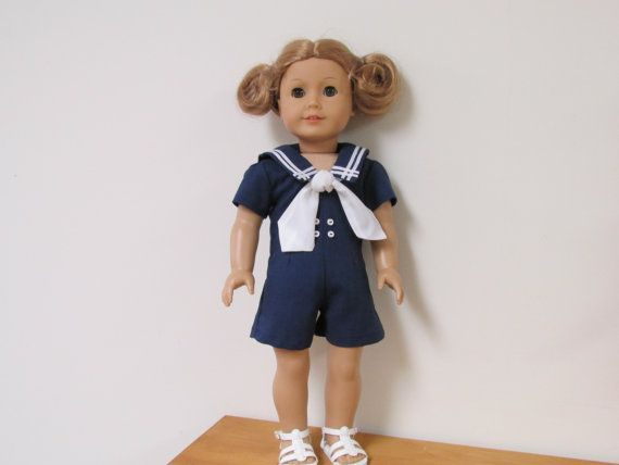 This adorable Navy Blue romper would be perfect for your American Girl doll or any other similar 18 doll. It is made with blue linen fabric and