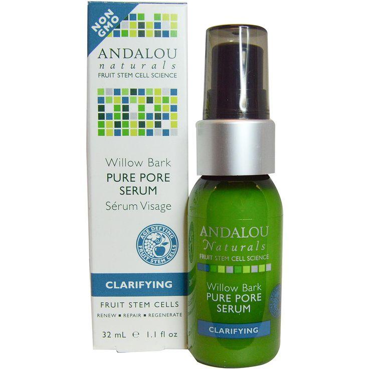Andalou Naturals, Pure Pore Serum, Willow Bark, 1.1 fl oz (32 ml) - iHerb.com