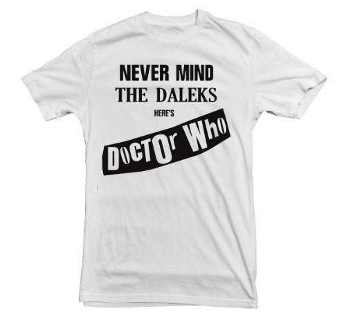 Dr Who T-shirt The Sex Pistols Never Mind The Daleks (Medium, White)