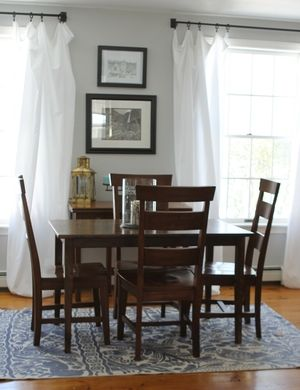 World market, brass, urban outfitters, rug, navy, gray, paint stonington gray, white curtains, pottery bard hardware, breakfast nook, table. Dinning, kitchen, eclectic
