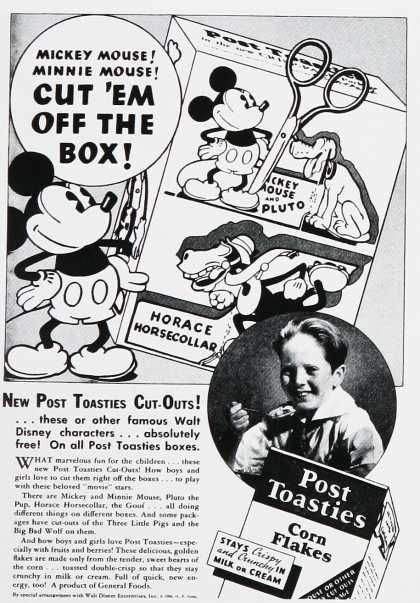Post Toasties – Mickey Mouse 1930's ad