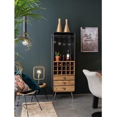 Armoire bar à vins métal et bois Vino Dutchbone - Couleur - Naturel - Achat / Vente armoire de chambre Armoire bar à vins métal et - Les soldes* sur Cdiscount ! Cdiscount