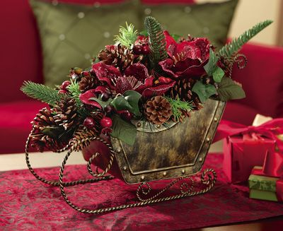 Rustic Holiday Floral Sleigh Centerpiece Decoration