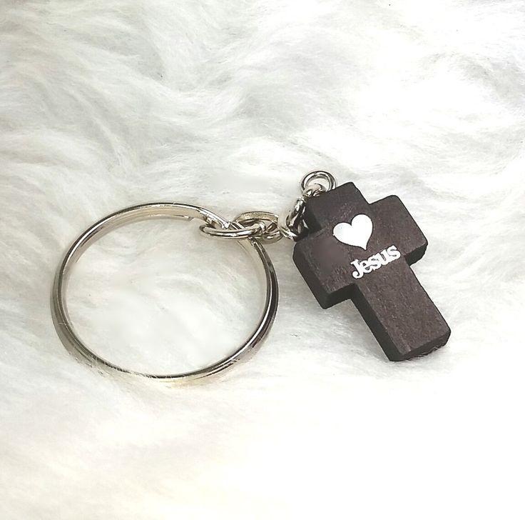 Key Chain - 'His Loving Presence' Wooden 'Jesus-with-a-HEART CROSS' key chain K134 (Hebrews 13:5b)
