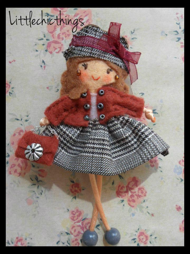 felt doll pin by Littlechicthings