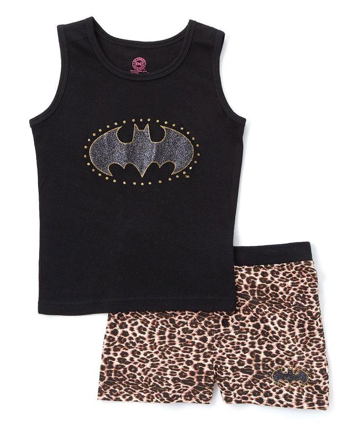 DC Comics 'Batgirl Glitter Leopard' Cotton Pajama Short Set