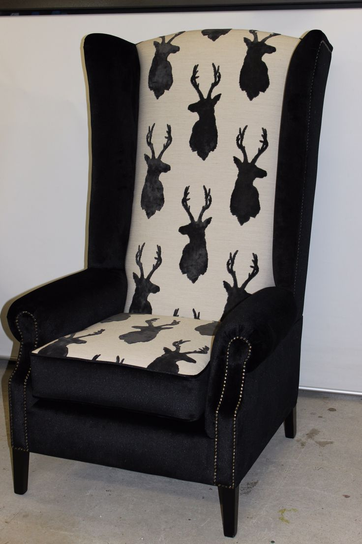 Hand carved amp upholstered chair late 1800 s grand rapids mi area - New Bespoke High Back Wing Chair Upholstered In Warwick Black Velour Seat