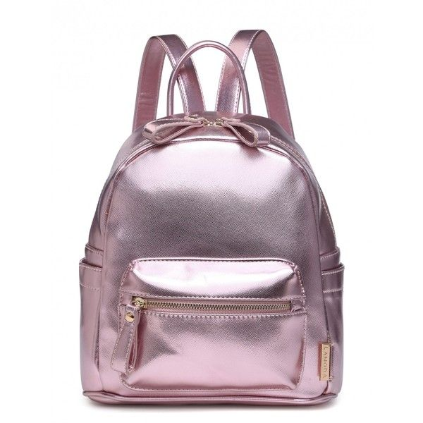 SWEETEST TABOO ROSE GOLD BACKPACK ($26) ❤ liked on Polyvore featuring bags, backpacks, bolsas, knapsack bag, day pack backpack, purple backpack, purple bag and zip bag