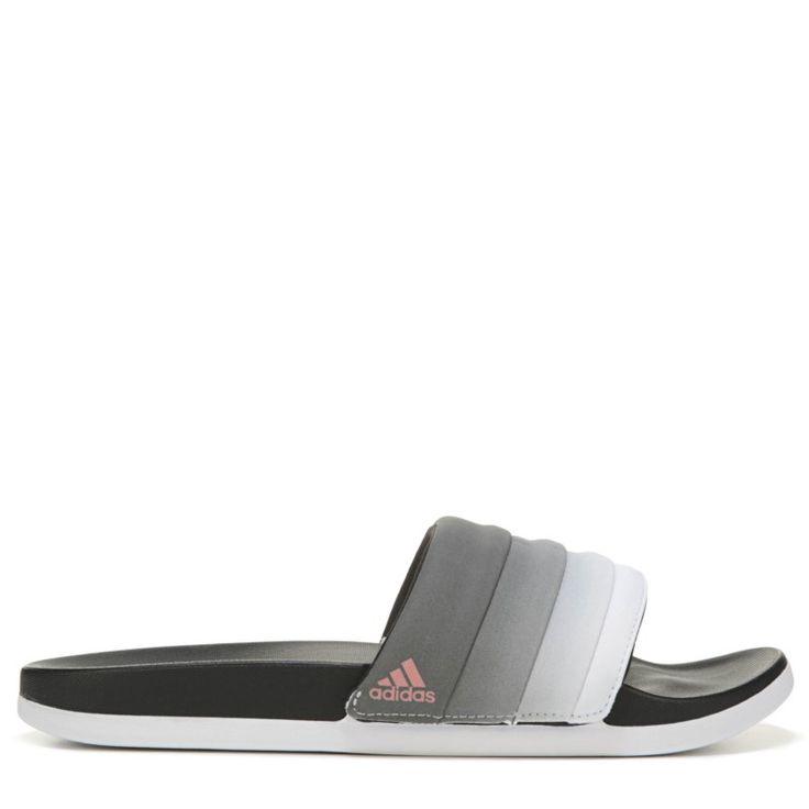 Adidas Women's Adilette Cloudfoam Slide Sandals (Core Black/Tech Rust)