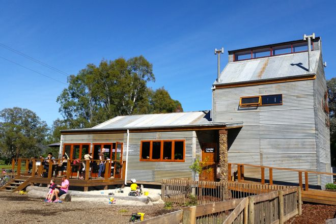 This cool restaurant is not only a kiln house converted into a trendy cafe, it also has a playground with sandpit, treehouse, swing, train and pet rabbit. That's what you call family friendly eating. Read all about the gems of the Bright region on our website http://www.suitcasesandstrollers.com/interviews/view/family-holidays-australia-bright-porepunkah?l=all #GoogleUs #suitcasesandstrollers #travel #travelwithkids #familytravel #familytraveltips #traveltips