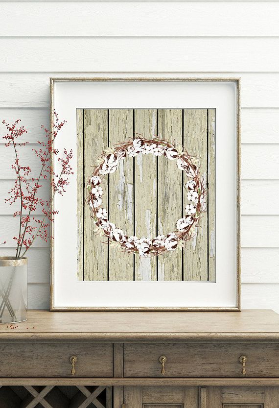 Wood Wall Art Printable Wall Art Rustic Home Decor Cotton Decor