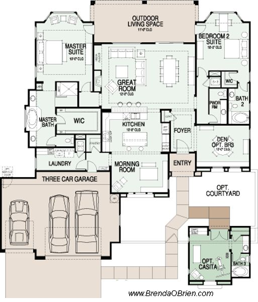 17 best ideas about bungalow floor plans on pinterest for Single story house plans with 2 master suites
