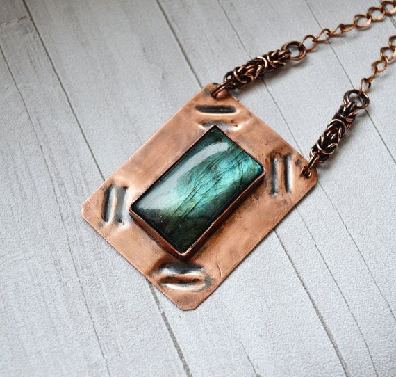Stone labradorite in the copper metal plate by SzkatulkaAmiJewelry  #Copper #Metalwork  #Necklace