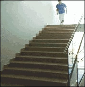 This guy who knows how to walk down stairs.   35 GIFs Of Individuals Who Really Did Nail It