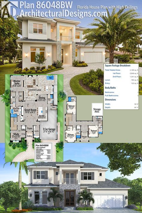 Plan 86048bw florida house plan with high ceilings for Florida house plans with lanai