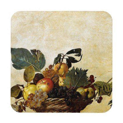 #Caravaggio - Basket of Fruit - Classic Artwork Beverage Coaster - #WeddingCoasters #Wedding #Coasters Wedding Coasters