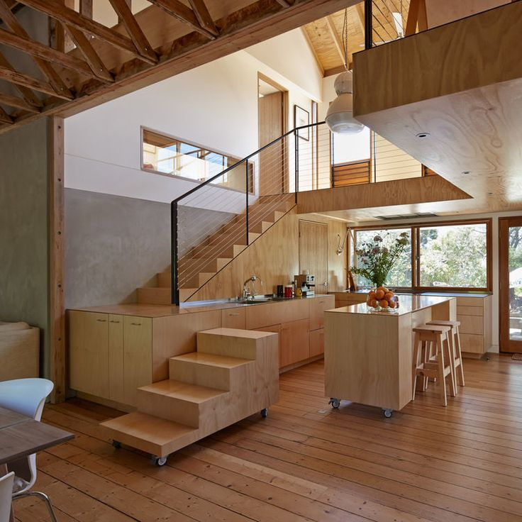 Movable stairs and kitchen tables.