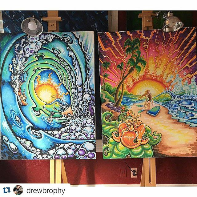 ❤ #Repost @drewbrophy with @repostapp ・・・ Finished these two big paintings over the weekend.  The images will be printed on ES Watersports body boards.  The original paintings are 36x24 on Canvas and will be released for sale soon.  If interested email info@drewbrophy.com and ask about the #bodyboard paintings.  Apareça aqui também  Marque-nos nas fotos ou use a #coreaart  #florestaencantadainsta #florestaencantada #jardimsecreto #secretgarden #esrarengizbahce #enchantedforest…