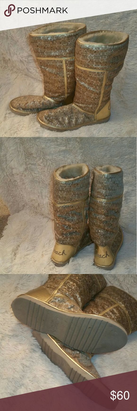 Fur Lined Coach Boots Authentic fur Lined Coach Boots. Worn twice. Excellent used condition. Lots of use still left on them. No major flaws, just small scuffs here and there Coach Shoes Winter & Rain Boots
