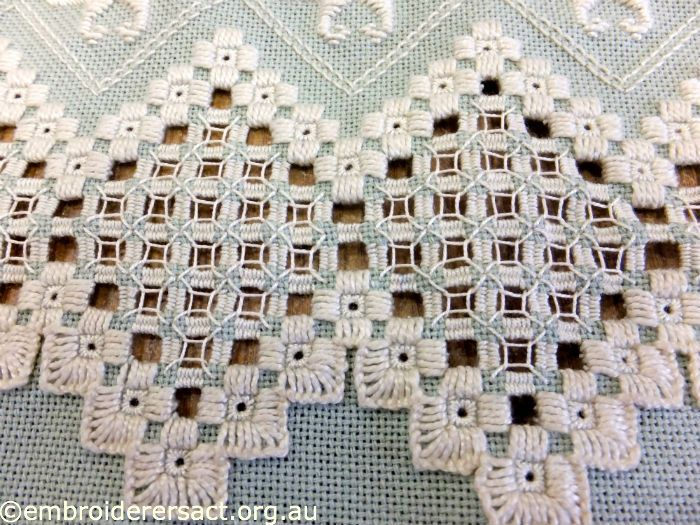 Anne Lond – Finished Edges on Green Hardanger in Progress - Embroiderers' Guild ACT
