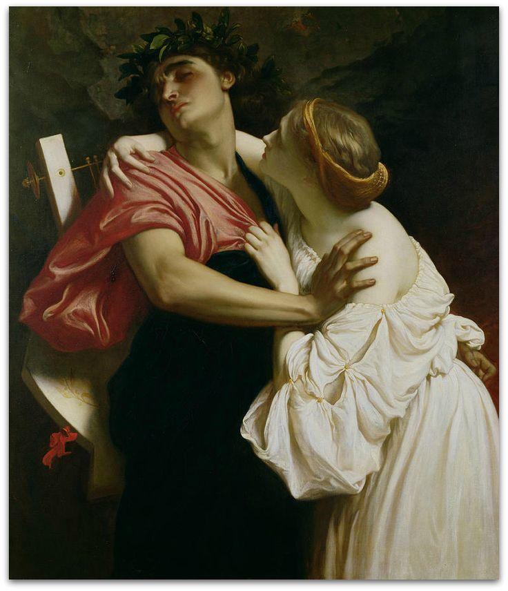 """Vorrei poter soffocare nella stretta delle tue braccia nell'amore ardente del tuo corpo sul tuo volto, sulle tue membra struggenti nel deliquio dei tuoi occhi profondi perduti nel mio amore, quest'acredine arida che mi tormenta.  Poetry Cesare Pavese  """"Vorrei Poter soffocare"""" da """"Prima di «Lavorare stanca » 1923 – 1930″ Artist Frederic Leighton """"Orpheus And Euridyce"""""""