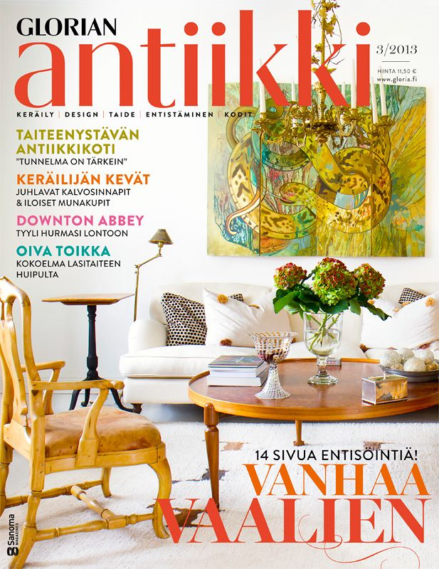 """Magazine cover 3/2013. Drawing room of a Finnish family with rococo armchair and Svenskt Tenn coffee table. Painting """"Kundalini"""" by Finnish artist Johanna Ehrnrooth. Photo Riitta Sourander."""