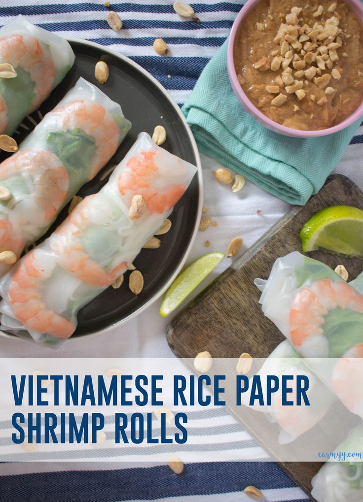 These fresh and healthy Vietnamese Rice Paper Shrimp Rolls are so easy to make! They're accompanied by my go-to creamy peanut sauce. via @runcarmyrun