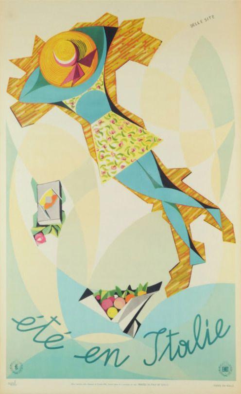 Mino Delle Site, travel poster Summer in Italy, 1952. Ente Nazionale italiano per il Turismo (ENIT),