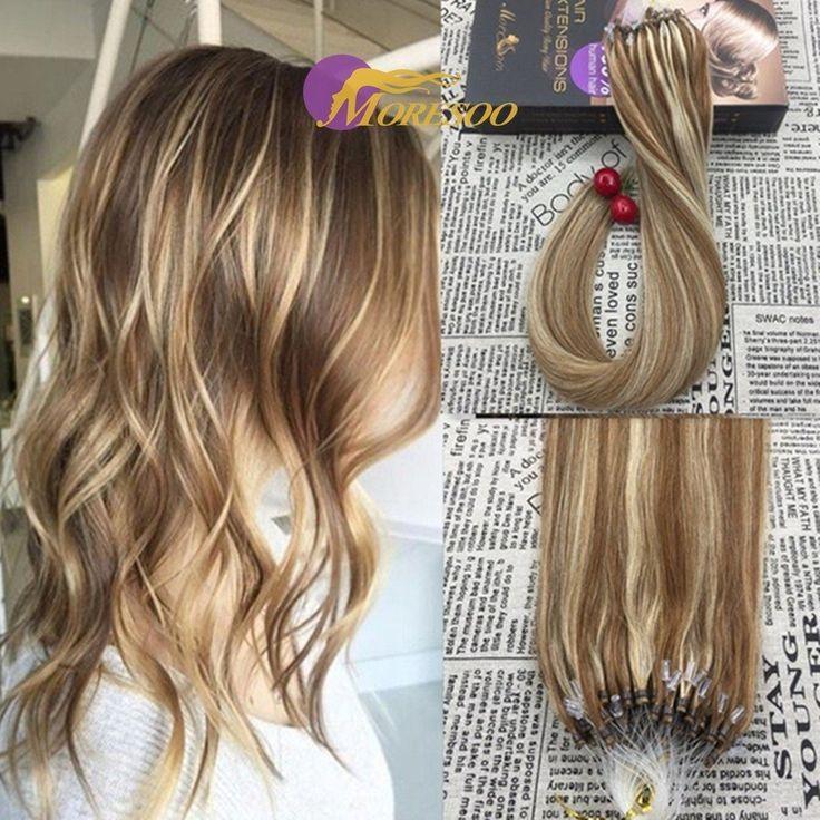 Moresoo 20 Inch Hair Extensions Ash Brown and Bleach Blonde Human Hair Extensions Micro Loop Ring Human Hair Extensions 50g/50s Real Human Hair Extensions Loop Hair