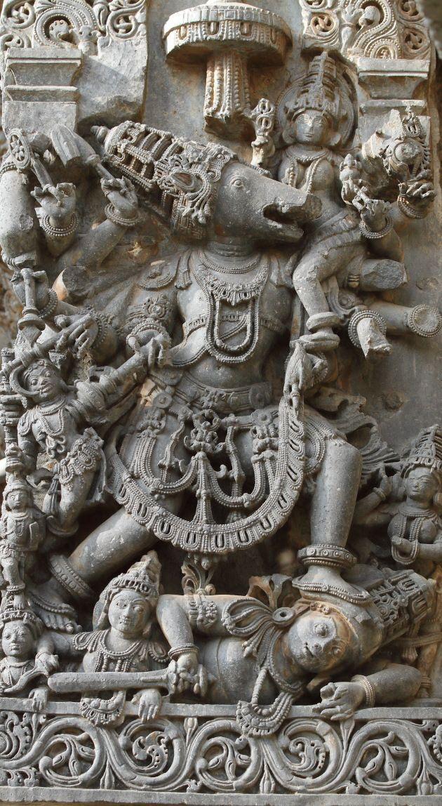 Varaha avatar sculpted on the walls of the Halebid temple of Hoysala kingdom, Karnataka