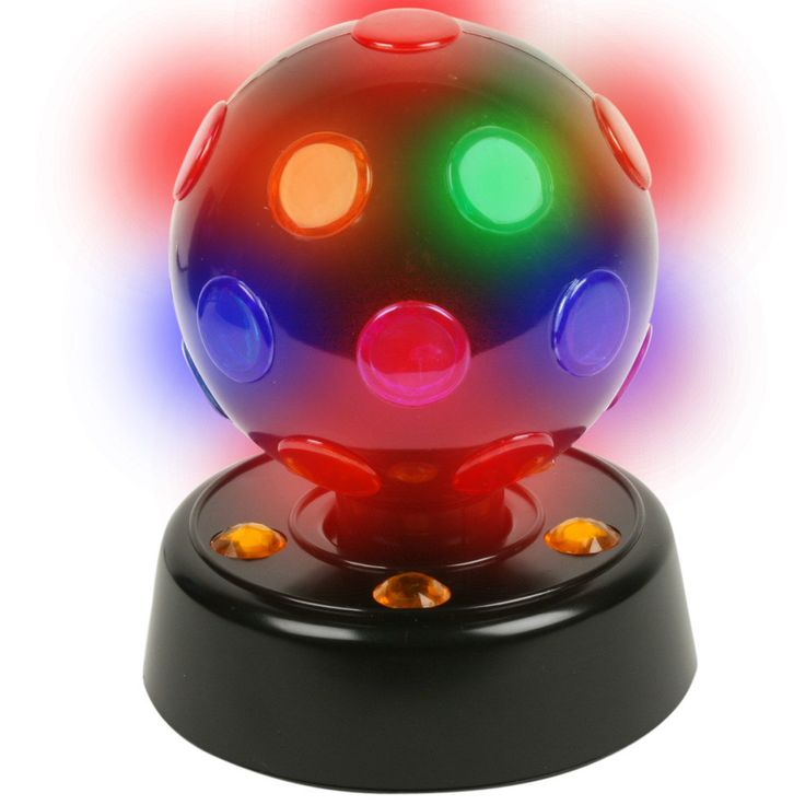 """7"""" Rotating Disco Ball Light Black Disco Ball stands approximately 7"""" high (with 2"""" high base) x 8"""" wide. Includes UL Listed 5' long black power cord. Weight (lbs) 0.91 Length (inches) 5.5 Width (inch                                                                                                                                                                                 More"""