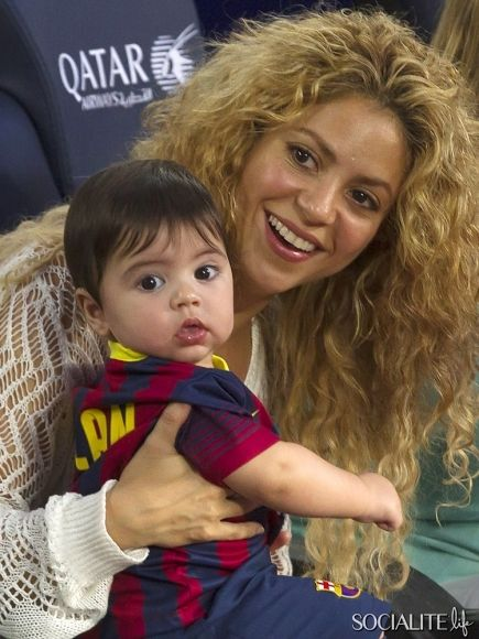 Singer Shakira takes her adorable son Milan Pique to watch FC Barcelona in Barcelona, Spain on September 14, 2013.