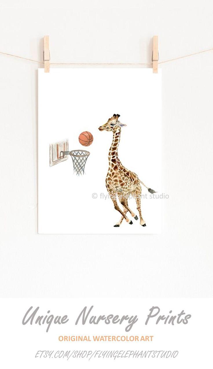 Giraffe Watercolor Nursery Painting Decor Giraffe Playing Basketball Boy Room Nursery Decor Animals Sports Toddler Wall Art Printable