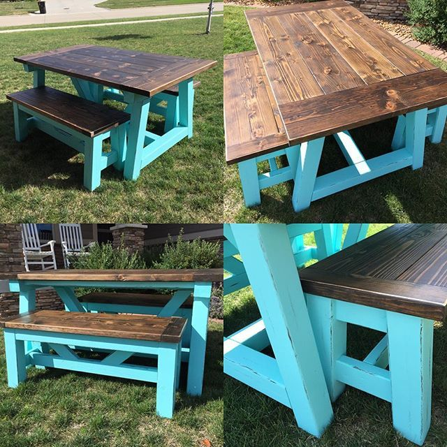 Farmhoues Table With A Pop Of Color Free Plans At Ana White BenchPatio TableDining