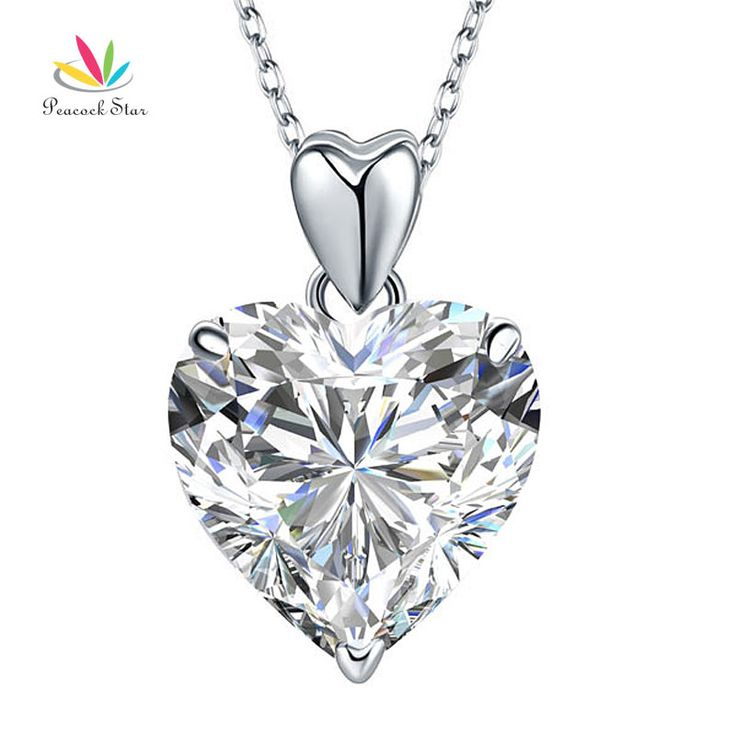 Peacock Star 5 Ct Heart Created Diamond Pendant Necklace Solid 925 Sterling Silver Fashion Wedding Jewelry CFN8043