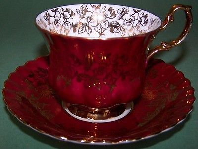 Royal albert spectacular red & gold tea cup and saucer
