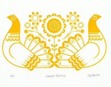 Retro To Go: Sebright Bantams Print by Dee Beale