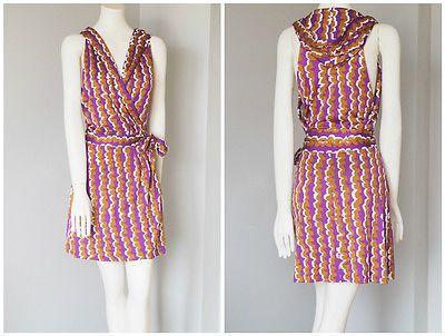 DVF-Women-039-s-Silk-Multi-Color-Sleeveless-Wrap-Dress-Print-Pattern-034-Mylene-034-Size-6