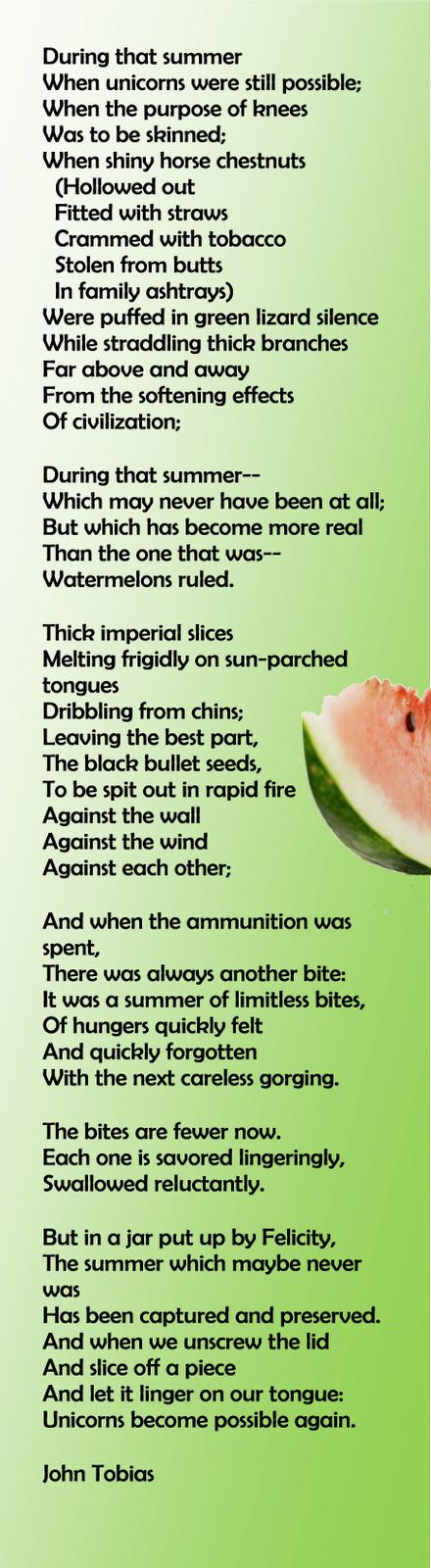 This is Summer:  Refelections of a Gift of Watermelon Pickle Received from a Friend Called Felicity Poem