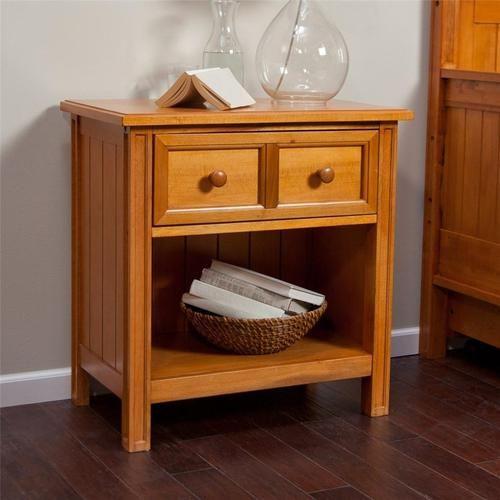1 Drawer Wood Bedroom Nightstand With Shelf Modern Honey