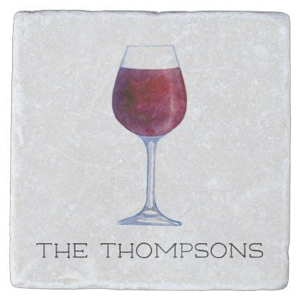 Watercolor Wine Personalized Drink Coasters - watercolor gifts style unique ideas diy