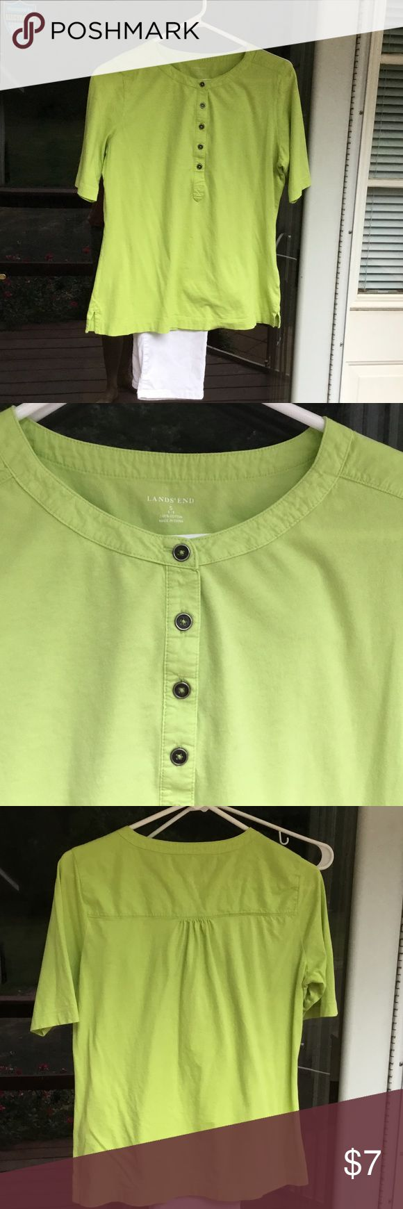 Land's End lime green shirt Very cute Land's End shirt that is in excellent condition but too big for me.  Material is 100% cotton.  Shirt is very soft and comfortable.  Measures 24 1/2 inches in length, width is 19 inches. Lands' End Tops Tees - Short Sleeve
