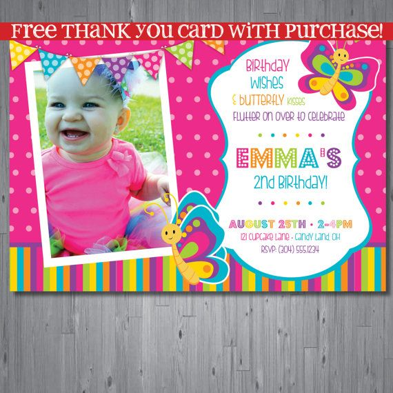 butterfly Birthday Invitation, first birthday party invitation - invitation card for ist birthday