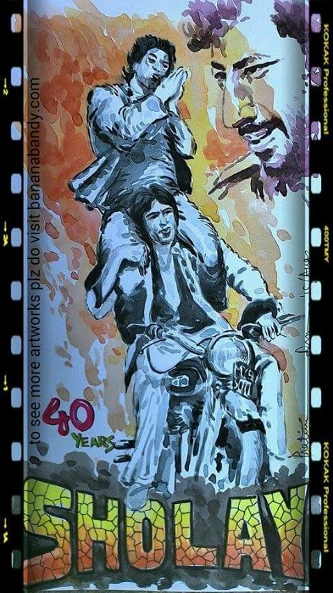 """SHOLAY ... A name relate to nostalgia for every Indian film lover... India's first megahit film ... Celebrating 40 years of making(1975, 15 August - 2015) ... just try to feel that tune ... That unforgettable song """"yeh dosti hum nehi torenge"""" (in any circumstances we never brake our friendship bond) ... Watercolor .... 11*6inch ... 2015 ... Sholay is a 1975 Indian Hindi action-adventure film directed by Ramesh Sippy and produced by his father G. P. Sippy. The film follows two criminals…"""