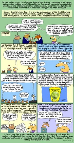 First Dog on the Moon cartoon about doctors demanding an end to children in detention