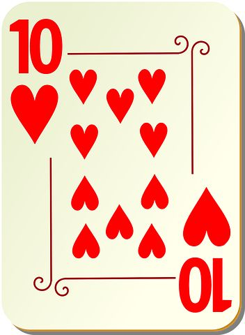 Ten, Hearts, Playing Cards, Poker